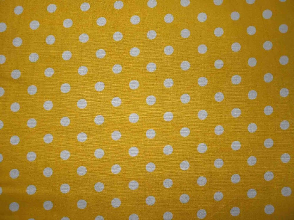 Yellow With 7mm White Spot 100 Cotton Fabric